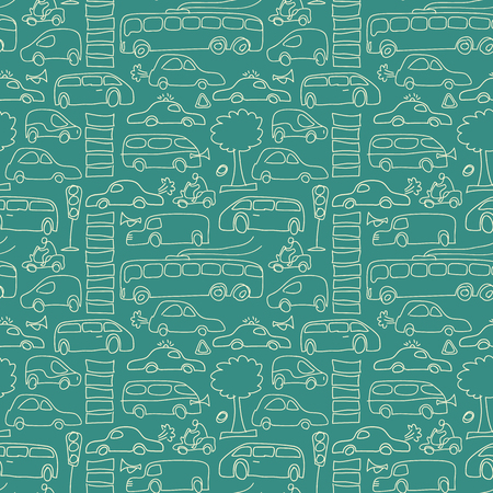 Green seamless transport background pattern with trees cars motos and others isolated transport elements vector illustration