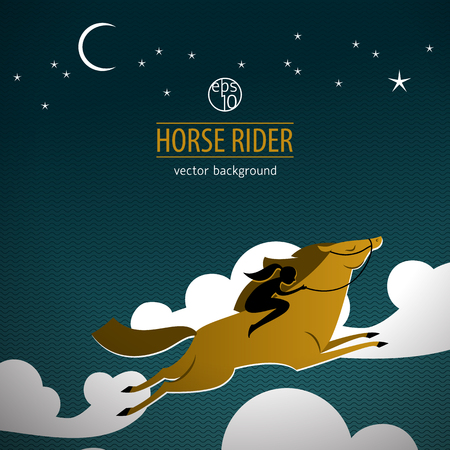 Wild Horse Colored Poster. Vector illustration.