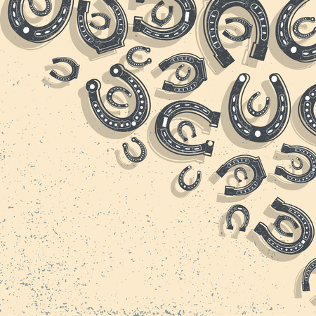 Horseshoes Beige Background. Vector illustration. Illustration