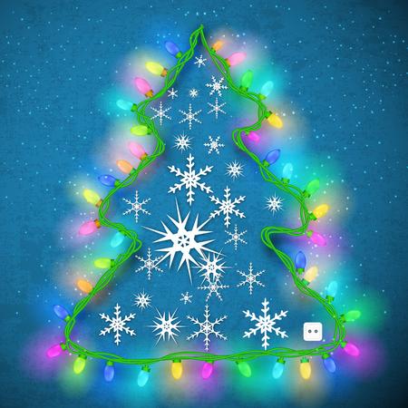 christmas tree illustration: Christmas Tree Design Illustration