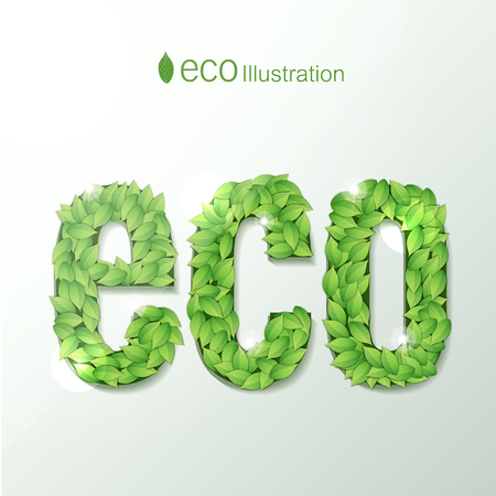 Environmental Illustration With Green Leaves Font