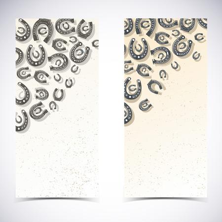 Two Horseshoes Banner Set. Banque d'images - 83339954