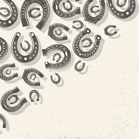 Horseshoes light background placer one shoe inside the other at the top left corner vector illustration Ilustrace