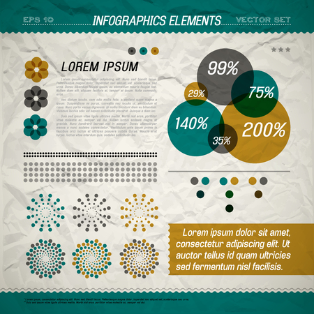 Circle infographic elements with information and percent ratio marked via size of circles vector illustration