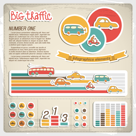 Big traffic and transport colorful infographics elements on textured background cartoon vector illustration Illustration