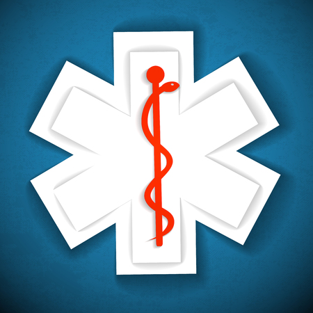 Medical light background with cross and caduceus vector Illustration