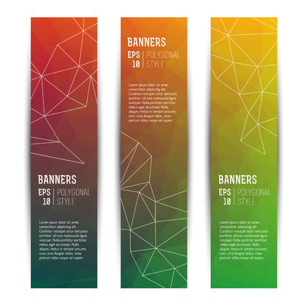 Abstract Triangle Vertical Banners Set