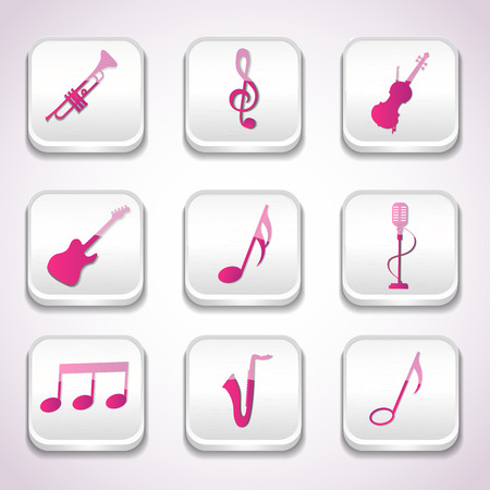 3d Colorful Music Icon Set