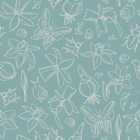 Flowers And Bugs Seamless Pattern Иллюстрация