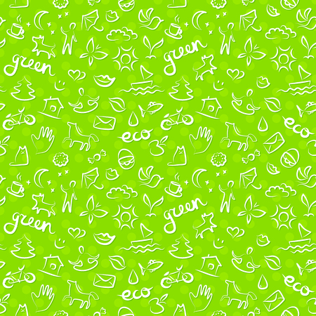 Ecology signs and icons seamless pattern