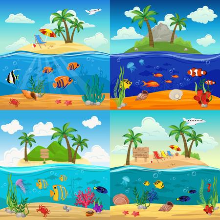 Sea Underwater Life Backgrounds Set Illustration