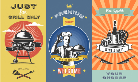 Vintage Barbecue Colored Vertical Banners Illustration