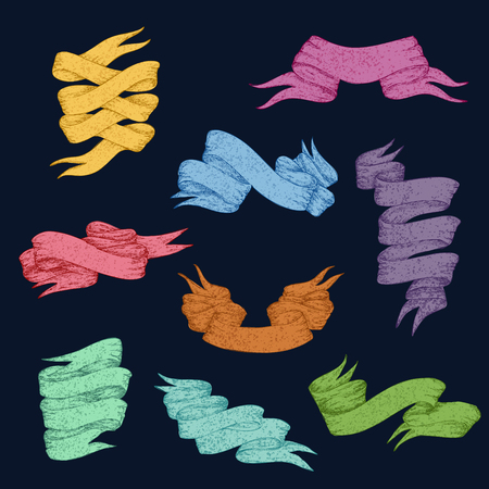 Colorful ribbons and banners collection of different forms in vintage style isolated vector illustration