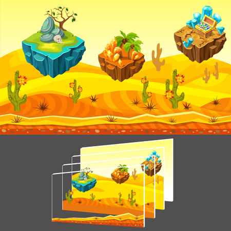 Cartoon game desert landscape template with flying islands cactuses thorns skull stones palms minerals chest of treasure vector illustration