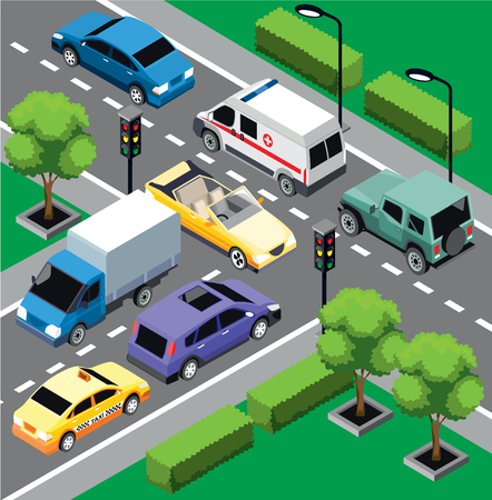 City traffic isometric concept with different moving cars on road intersection vector illustration Ilustracja