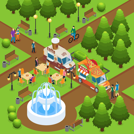 Isometric Colorful Street Food Concept