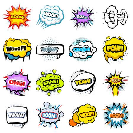 Comic Colorful Speech Bubbles Collection Çizim