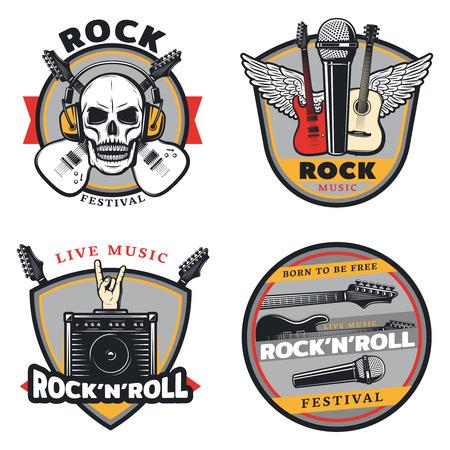 Vintage Colored Rock Music Emblems Set Ilustração