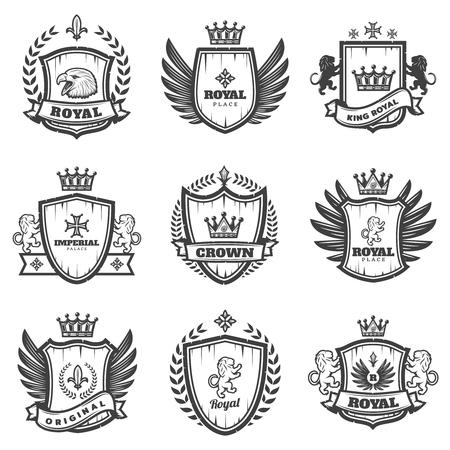 Ensemble d'émotions héraldiques monochrome vintage Banque d'images - 83425179