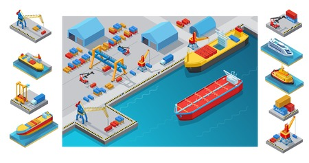 Isometric Seaport Concept Stock Vector - 83650363