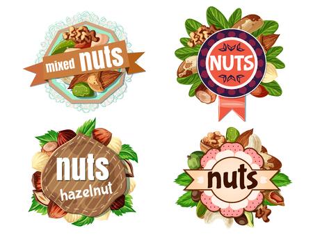 Cartoon Colorful Nuts Labels Set Ilustração Vetorial