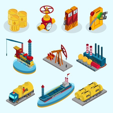 drill: Isometric Oil Industry Elements Collection