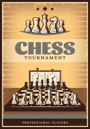 ビンテージ チェス大会ポスター