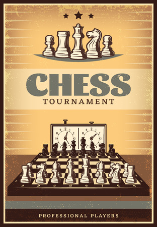 Vintage Chess Competition Poster Illustration