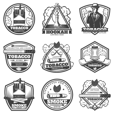 Vintage monochrome smoking labels set with man cigarettes hookah pipes matches lighter cigar tobacco leaves isolated vector illustration
