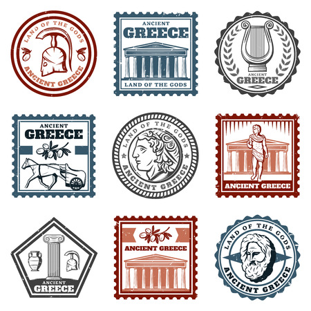Vintage ancient greek marks set with helmet temple harp olive chariot coin column philosopher face isolated vector illustration