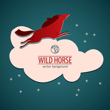 赤の野生馬エンブレムやステッカーを大きな白い雲、赤い馬のジャンプのベクトル図