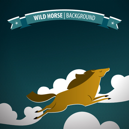 Brown wild horse poster with jumping animal on the clouds with ribbon wild horse and stars vector illustration