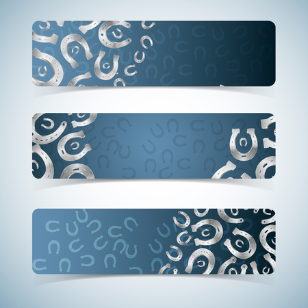 Silver horseshoes on blue background horizontal realistic banners set isolated vector illustration