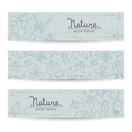 Three Nature Banner Set Иллюстрация