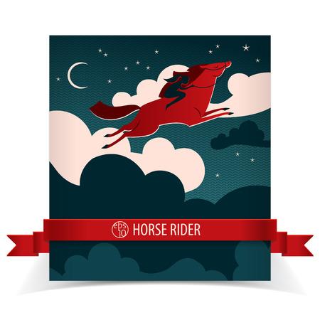 Cartel del caballo salvaje con la cinta roja que vuela el caballo rojo y el jinete negro Foto de archivo - 83872647
