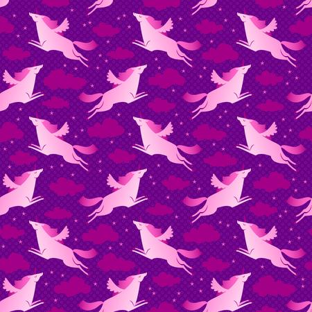 紫やピンクのシームレスなパターンを空と星の平面のベクトル図とユニコーン  イラスト・ベクター素材