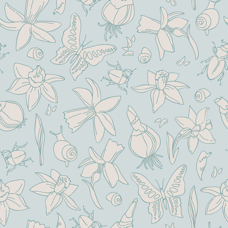 Hand drawn light flowers seamless pattern for for registration of invitations and gifts with isolated icon set vector illustration