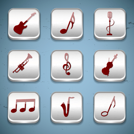 Muziek knoppen Icon Set Stock Illustratie