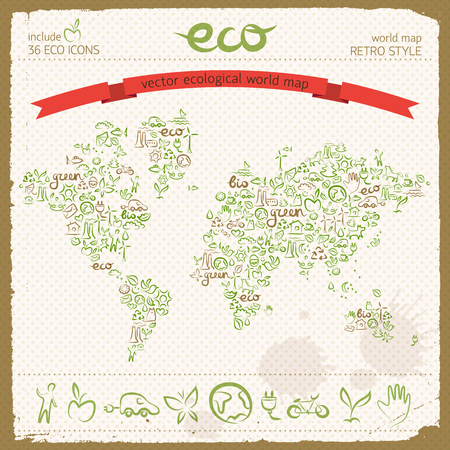 Eco design concept with ecological line icons set in world map shape with recycling wind turbine electromobile butterfly signs vector illustration Иллюстрация