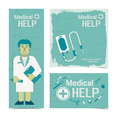 Medical help banners set with nursing staff figurine and instruments for healthcare flat vector illustration Illustration