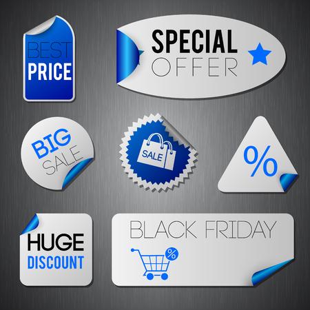 Zwarte vrijdag grote die verkoopstickets in blauwe en grijze kleuren vlak geïsoleerde vectorillustratie worden geplaatst Stock Illustratie