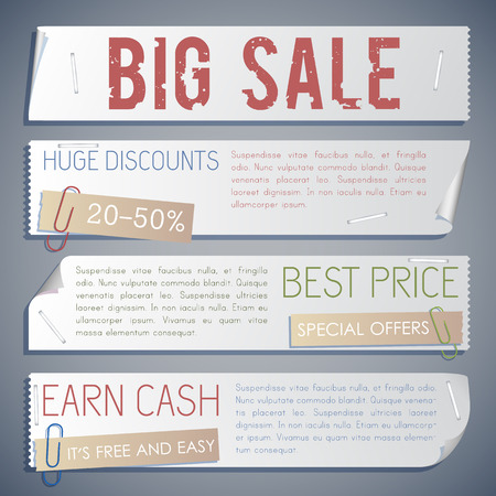 Advertising sale horizontal banners with different promotional inscriptions for purchase in retro style vector illustration