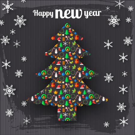 Happy New Year Decorative Template Illustration
