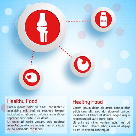 適切な栄養製品アイコン明るい背景ベクトル図の人間の骨のために有用なインフォ グラフィック コンセプト  イラスト・ベクター素材
