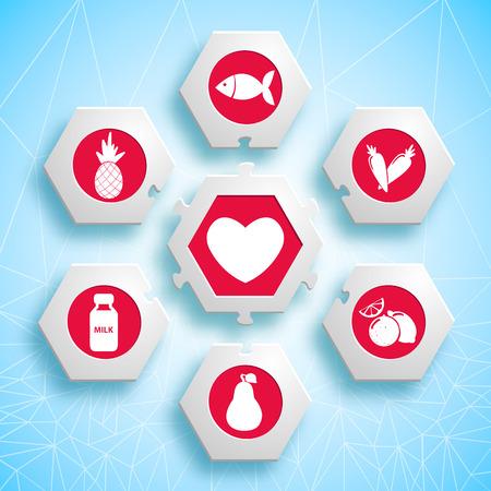 육각형 및 빨간색 제품 아이콘 심장 벡터 일러스트 레이 션에 대 한 유용한 건강 식품 정보 퍼즐 퍼즐 디자인