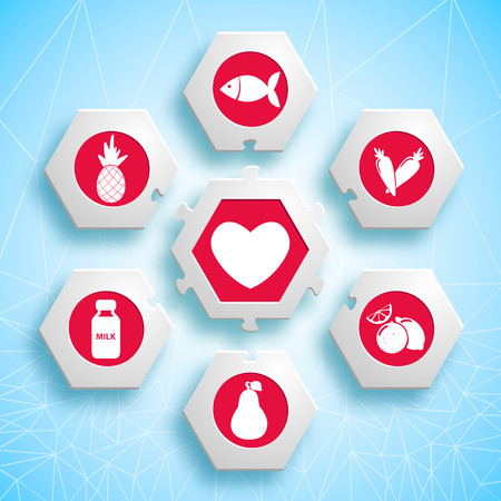 proper: Healthy food infographic puzzle design with hexagons and red products icons useful for heart vector illustration Illustration