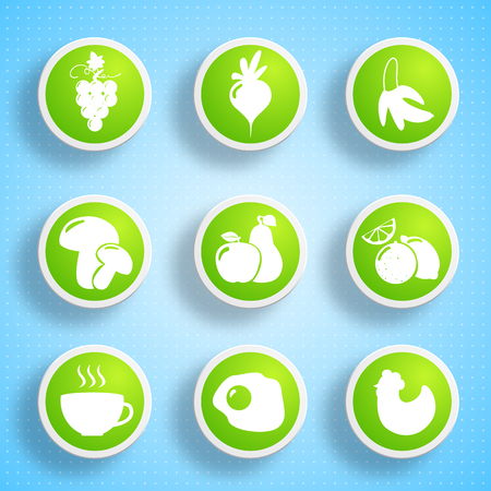 Healthy food icons collection with products valuable for human body on blue light background isolated vector illustration