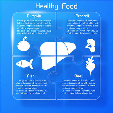 Healthy food infographic background with products icons valuable for human liver text puzzle shape vector illustration Ilustração