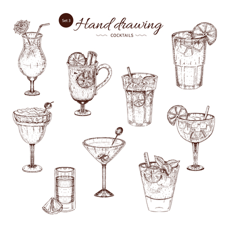 Alcoholic Cocktails Hand Drawn Monochrome Set Illustration
