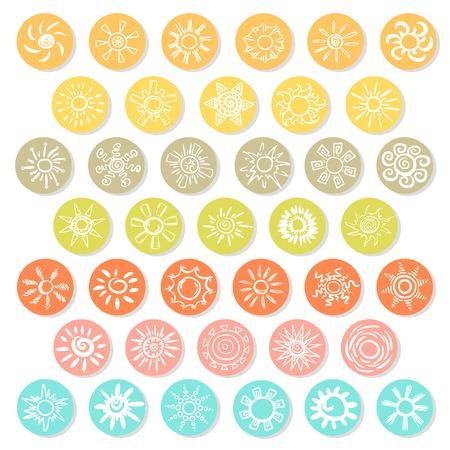 カラフルなサークル分離ベクトル図にさまざまな形態の落書き白い太陽アイコンを設定
